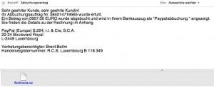 Screenshot einer verdächtigen Mail