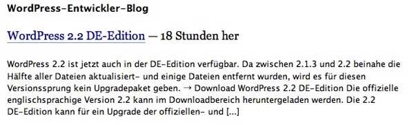 WordPress 2.2 deutsch verfügbar