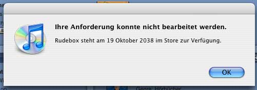 Fehlermeldung von iTunes