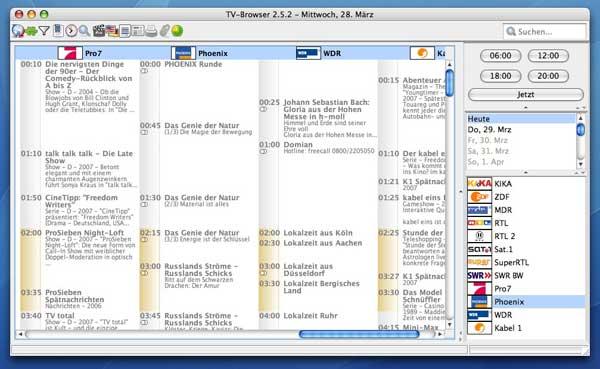 TV-Browser Hauptfenster